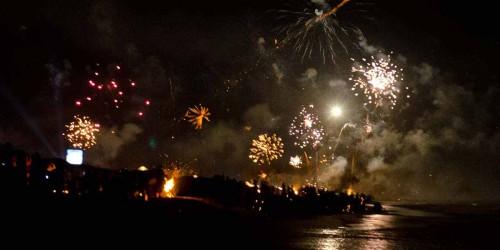 Fireworks on New Years Eve on Candolim Beach
